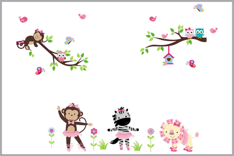 Girl's Animal Decals - Baby Girl's Themed Decor - Safari Animal Wall Stickers - Better than Vinyl Decals