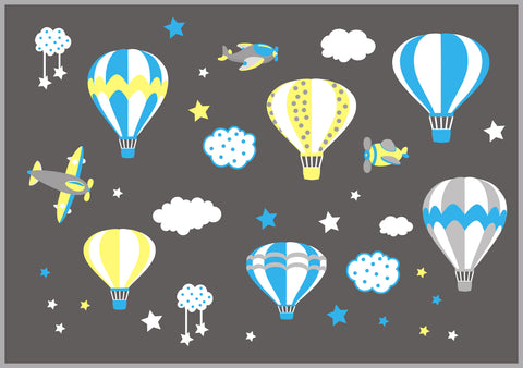 Baby Boy's Decals - Hot Air Balloon Decals - Nursery Wall Decals - Airplane Wall Decals - Blue and Yellow - Cloud Decals - Up in the Sky