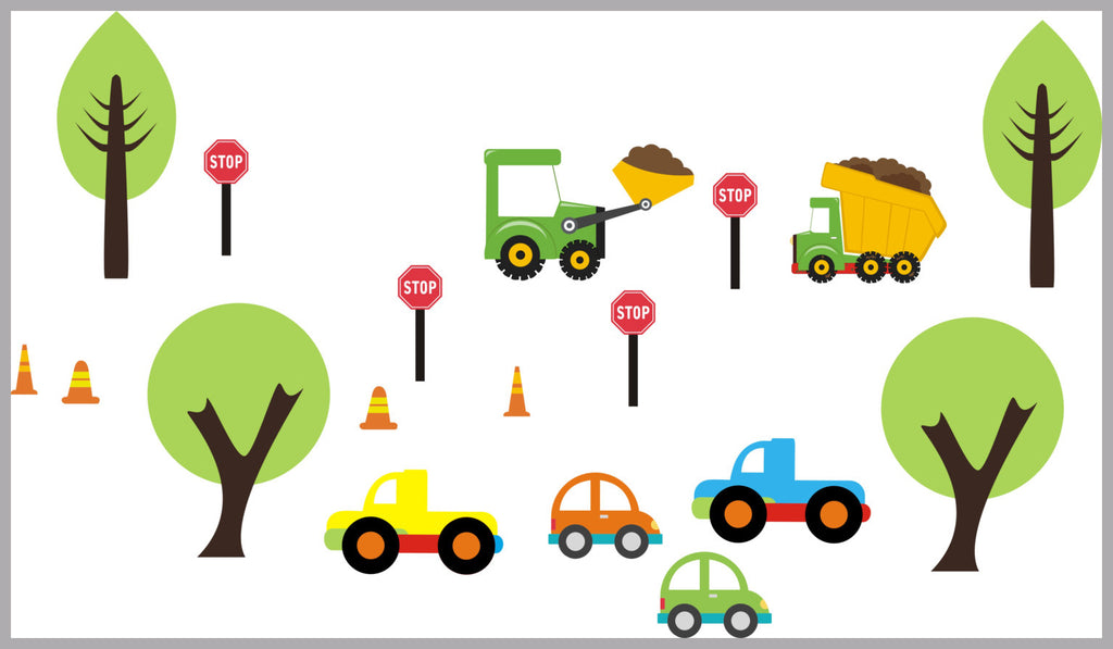 Cars Bulldozer Trucks Decals