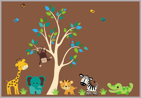 "Baby Boy Decals - Nursery Adhesive Animal - Fabric Tree Nursery Decal - Animal Decals - Baby Room Wall Art - Baby Wall Decals - 83"" x 156"""