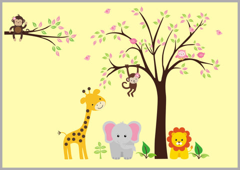 "Animal Stickers - Safari Wall Decals - Jungle Wall Decals - Nursery Wall Decals - Kids Room Decals - Baby Pink - Girls Baby Art - 83"" x 120"""
