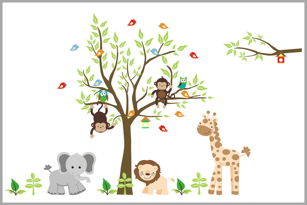 Brown Tones Nursery Decor Wall Decals Nursery Safari Themed Stickers