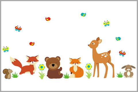 Wildlife Nursery Decals - Forest Wall Stickers - Deer - Rabbit - Fox - Squirrel - Birds - Nursery Design