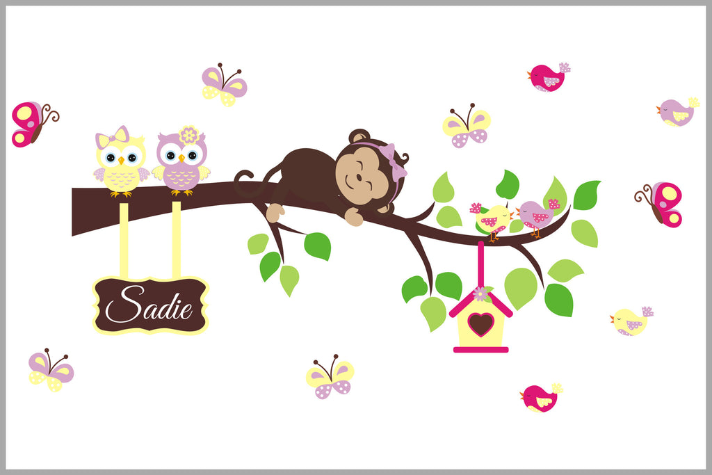 Monogrammed Nursery Decal Girls Monkey Branch