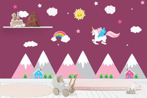 "Flying Unicorn Decal - Baby Girls Decals - Nursery Wall Decals - Pink Mountains - Sun - Clouds - Rainbow Decal - Kids Room - 70"" x 100"""