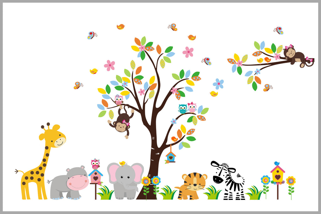 Baby Girl's Nursery Decals Safari Jungle Themed Tree