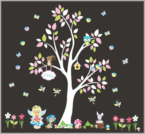 Baby Girls Nursery Decal - Wall Decals Nursery - Forest and Fantasy Decals - Girls Themed Nursery Decor - Repositionable Decals - White Tree