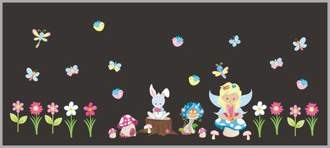 Nursery Wall Stickers - Baby Girls Room Decals - Forest Animal Decals - Faries - Bunny - Mushrooms - Butterflies - Woodland Animal Decals