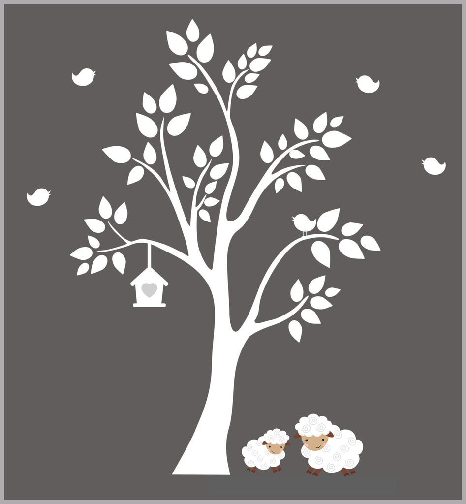 Sheep White Tree Decals