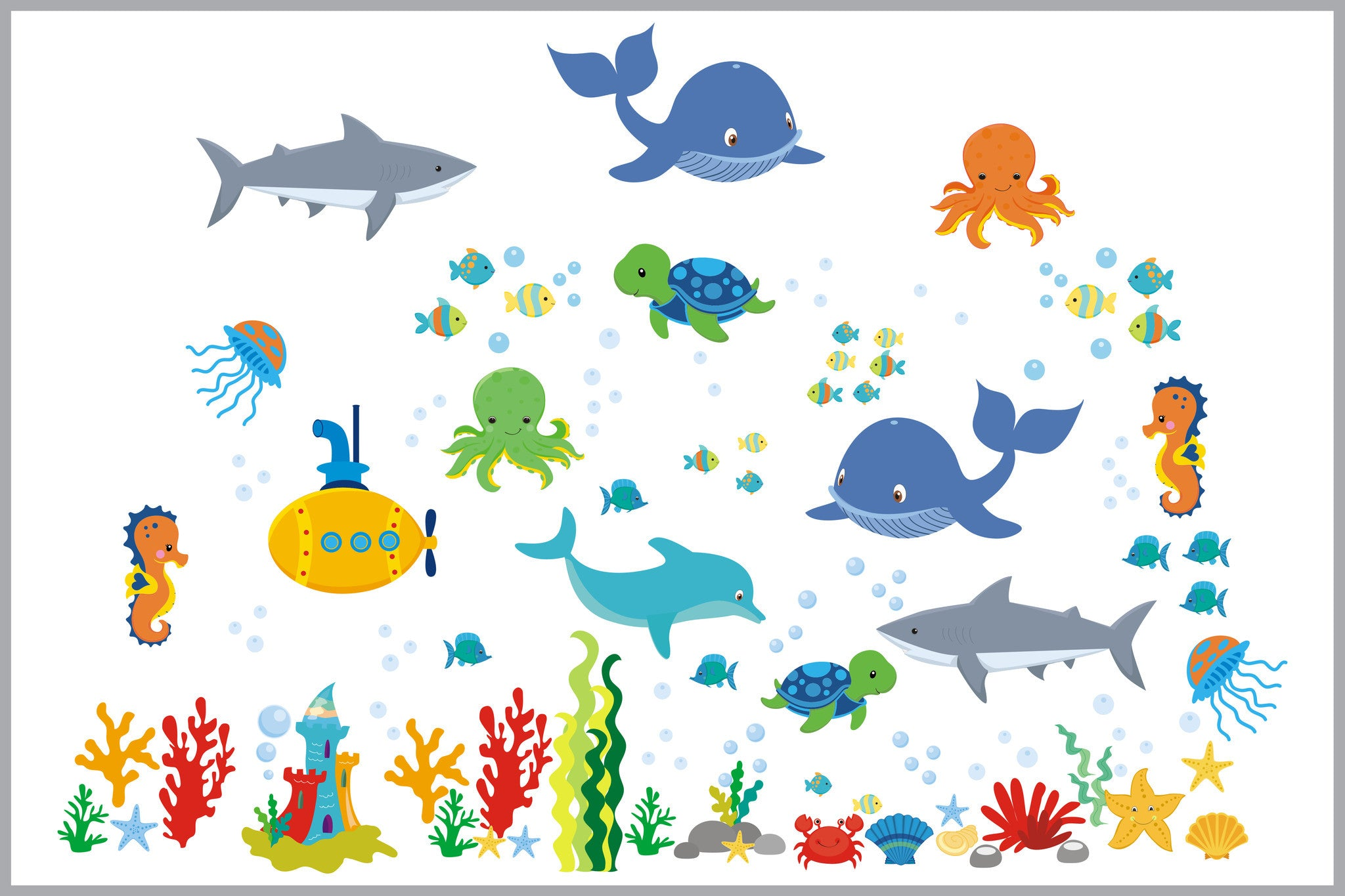 Ocean Wall Decals Nursery Room Fish Shark