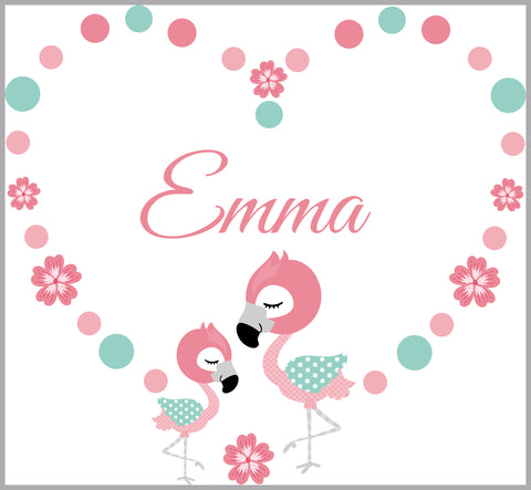 Flamingo Wall Decals - Heart Wall Decals - Monogrammed - Pink Hearts - Baby Girls - Girls Room - Wall Decals Nursery - Personalized Name