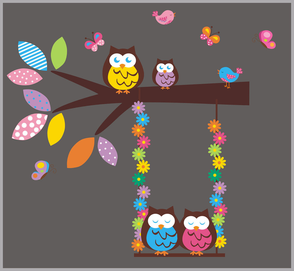 Owl and Swing Nursery Decal
