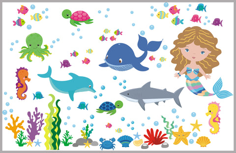 "Marine Life Wall Decals - Oceanic Wall Stickers - Aquarium Wall Decals - Shark Decal - Whale Decal - Girls Mermaid Decal - 50"" x 65"""