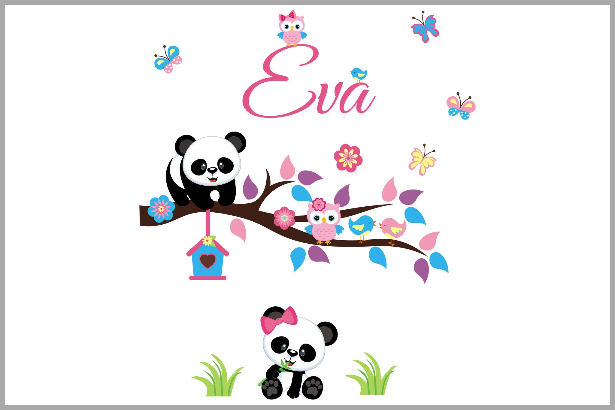 Monogrammed Nursery Decal Panda Bear Girls