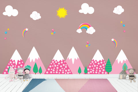 "Mountain Scene - Nursery Wall Decals - Pink Mountains - Girls Wall Stickers - Rainbow - Sun - Clouds - Removable and Reusable - 70"" x 100"""