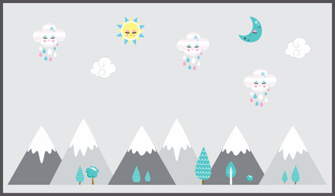 "Mountain Scene Decals - Landscape Scenery - Baby Room Decals - Wall Decals Nursery - Removable and Reusable - Gray Colors - 70"" x 100"""