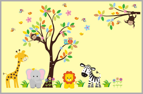"Animal Wall Stickers - Animal Wall Decals - Nursery Wall Decals - Baby Room Decor - Large Adhesive Decals - High Quality Decals - 83"" x 97"""