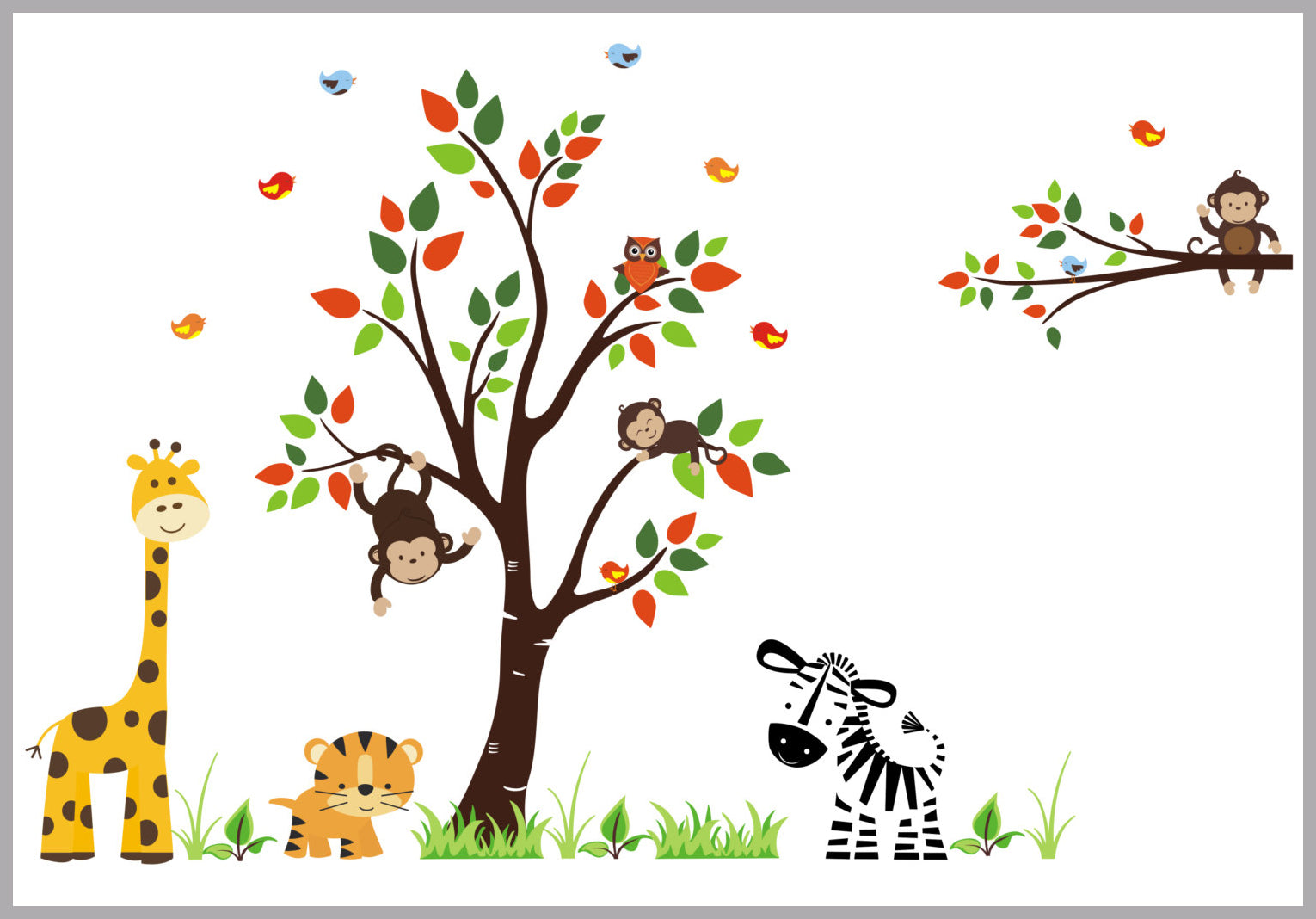 Removable Wall Decals Reusable Stickers Jungle Animal Wall Mural