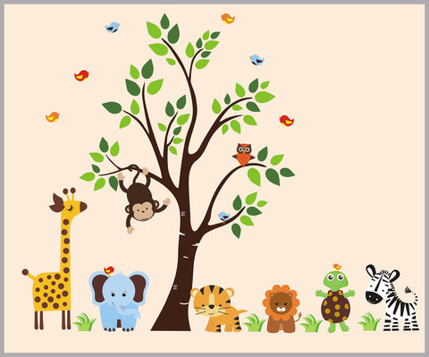 flowery tree jungle nursery decals girl s themed baby stickers