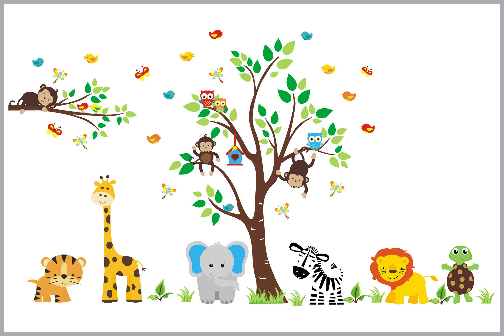 Safari Animal Wall Decals Baby Room Shower Gift