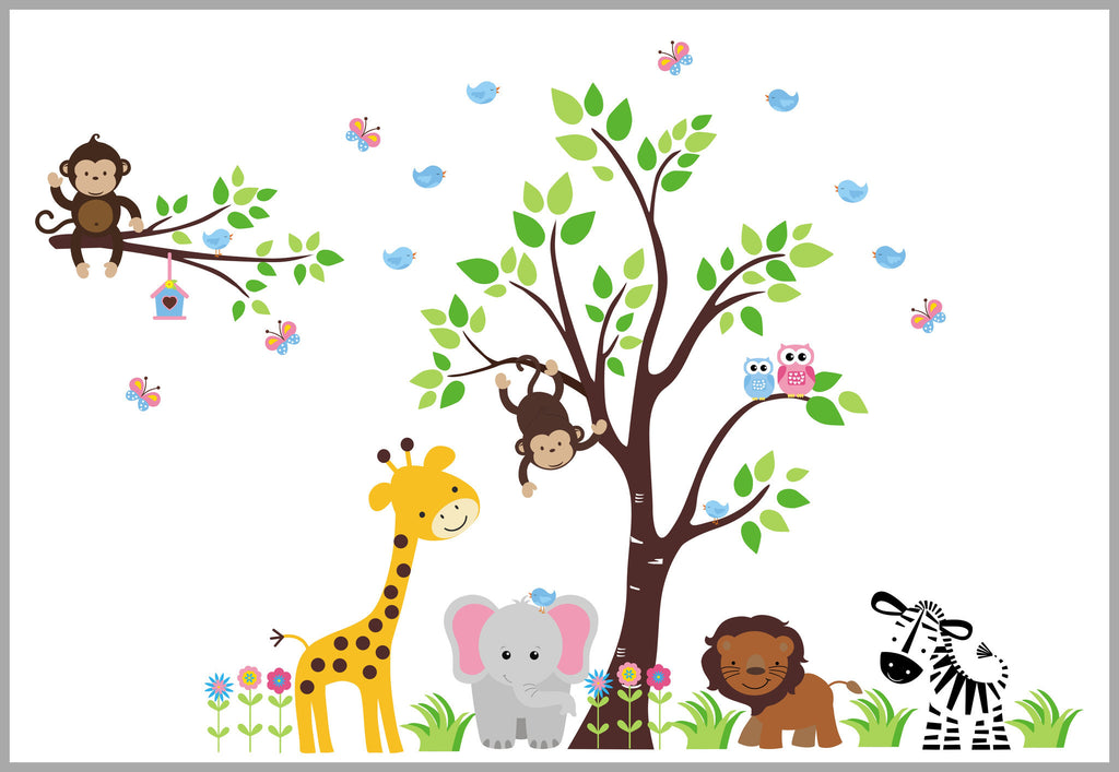 Baby Girls Room Decals Safari Animals Pink Blue