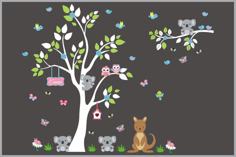 Cute Jungle and Safari Animal Scene - Nursery Decals - White Tree - Kangaroo - Koala Bear - Owls - Personalized Sign