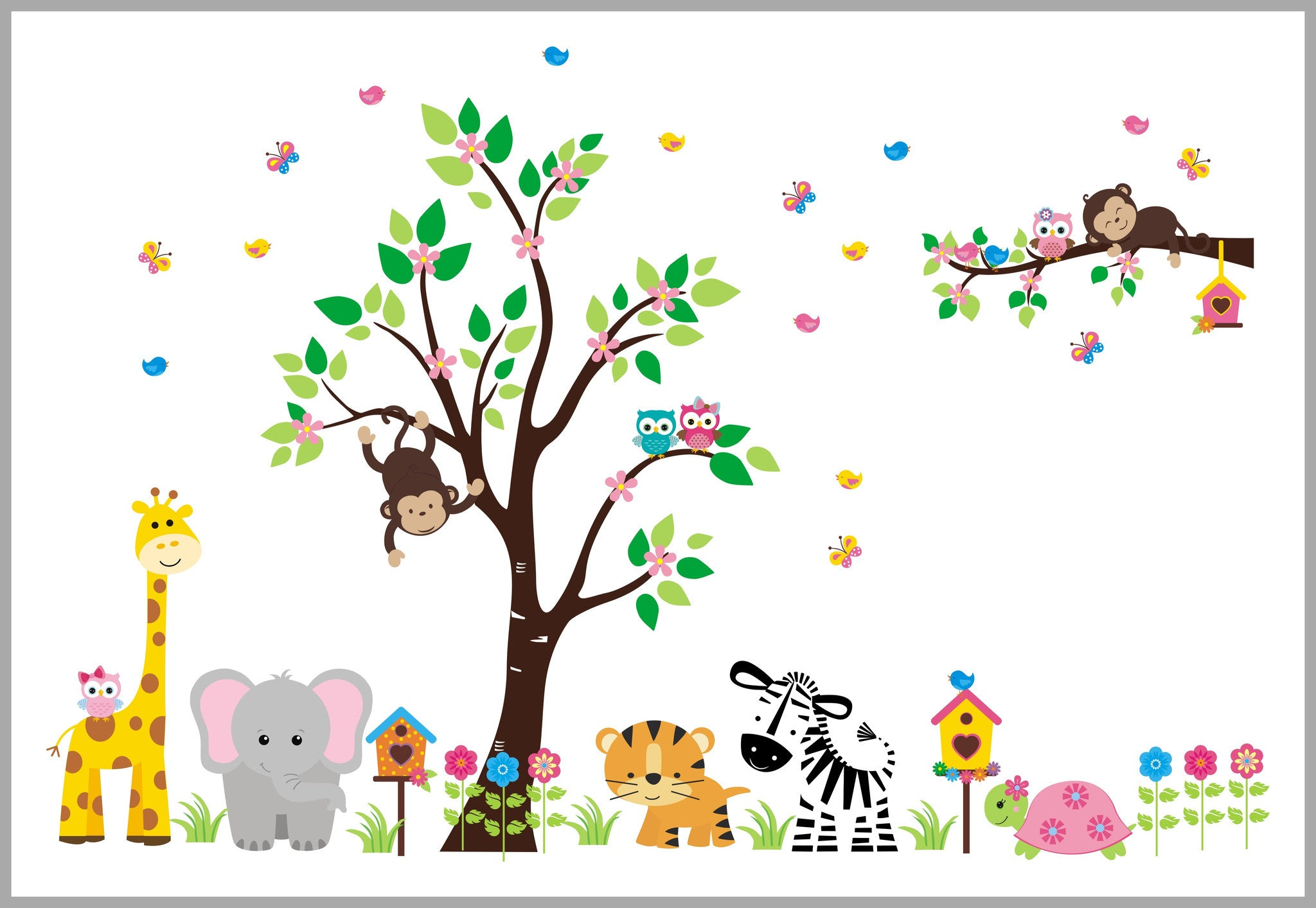 Jungle Themed Wall Stickers Flowery Tree Jungle Nursery Decals Girl S Themed Baby