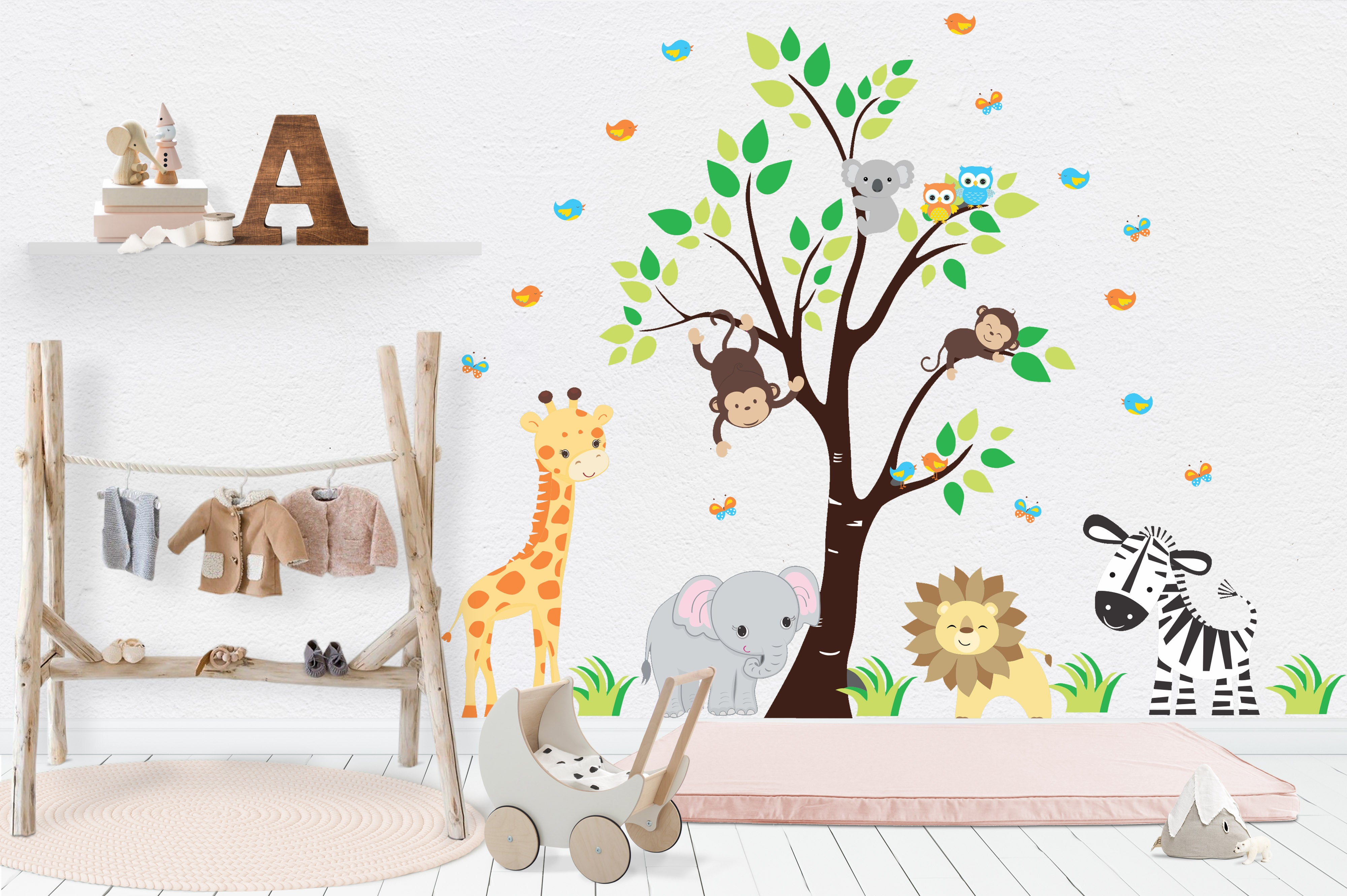 Nursery Wall Decals   Safari Nursery Stickers   Baby Room Decals   Giraffe    Elephant
