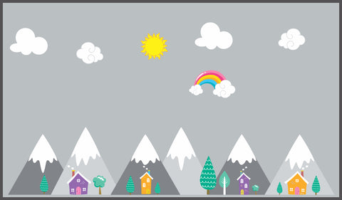 "Mountain Wall Decals - Landscape Wall Stickers - Baby Room Decor - Kids Room Decals - Mountain Range - Rainbows - Clouds - 70"" x 100"""