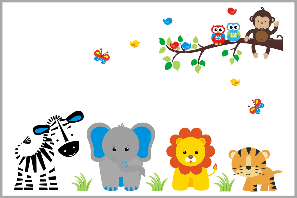 Jungle Safari Decals Zebra Elephant Lion Tiger
