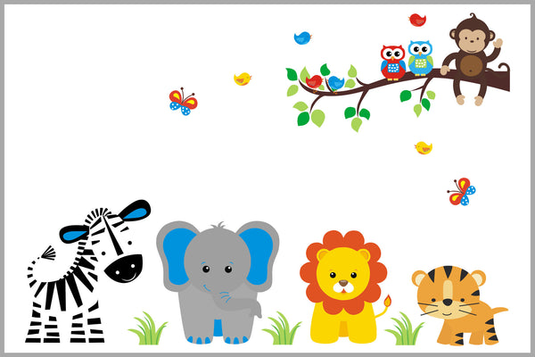 Bright Jungle Animals With Branch Safari Animal Nursery