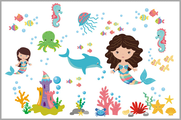 Mermaid Girl's Decals Baby Room Under the Sea