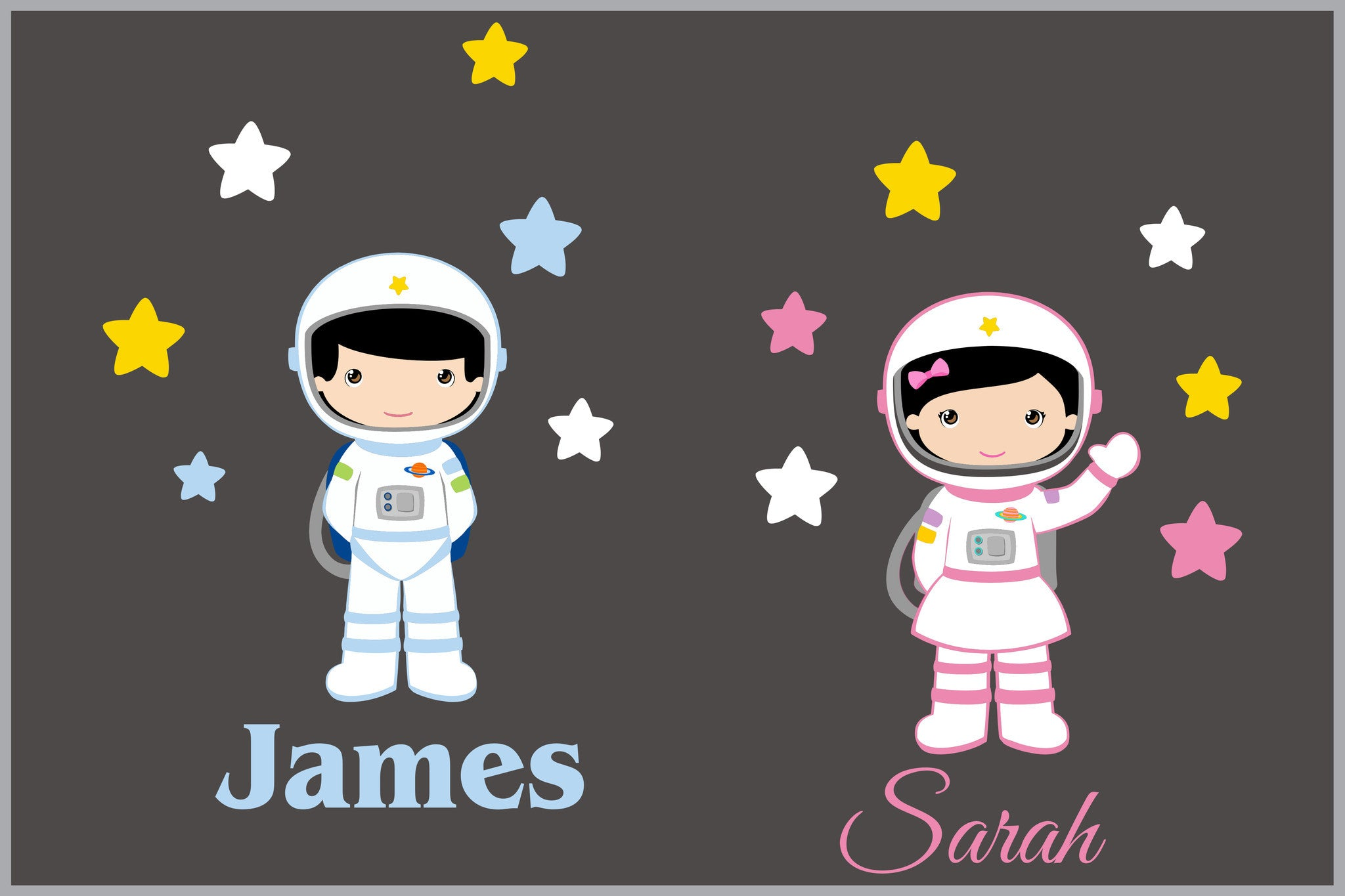 Astronaut Nursery Decals Monogrammed Name Stickers. Astronaut Nursery Decals   Monogrammed Name Sticker   Baby Boy or