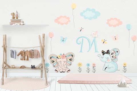 "Girls Nursery Decals - Wall Stickers Nursery - Baby Room Decals - Pastel Colors - Large Letter - Elephants - Clouds - Flowers - 48"" x 65"""