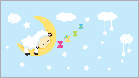 Sleeping Lamb Decal - Stars and Clouds Stickers - Baby Room Decals - Nursery Wall Decals - Cute Clouds - Napping Lamb - Nursery Wall Sticker