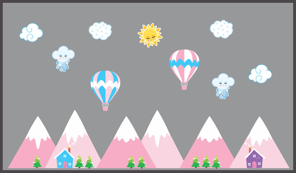 Pink Mountain Scene Stickers