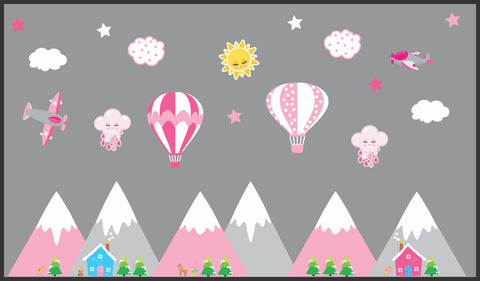 "Mountain Scene Decals - Hot Air Balloons - Pink and Gray Colors - Airplanes - Sun - Clouds - Girls Themed - Mountain Range - 70"" x 100"""