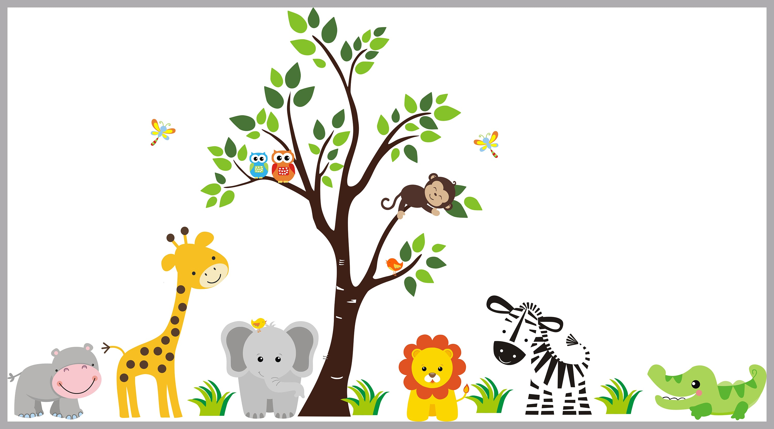 "Nursery Wall Decal - Safari Themed Nursery Decor - Baby Room Wall Stickers  - Kids Room Furniture - Baby Room Stuff - Animals - 24"" x 24"""