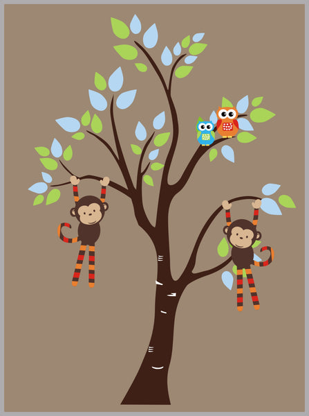 Monkey and Tree Borwn Color Decals