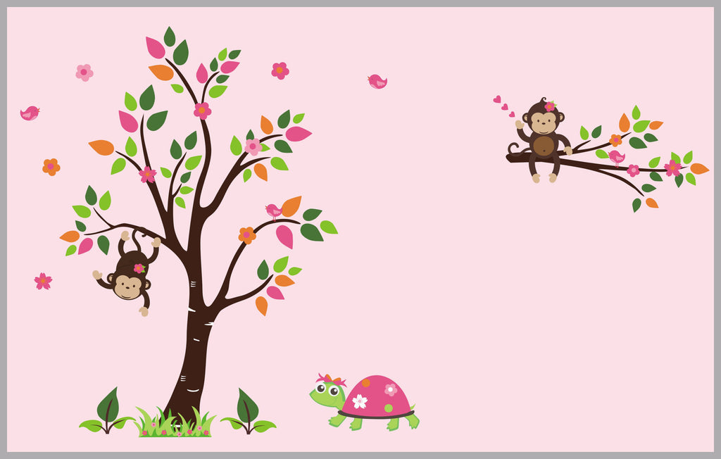 Girl's Turtle Monkey Decals