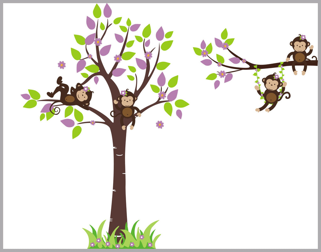 "Swinging Monkey Branch Decal - Nursery Wall Decal - Large Tree Wall Decal - Green and Purple Leaves - Forest Wall Decals - 85"" x 165"""