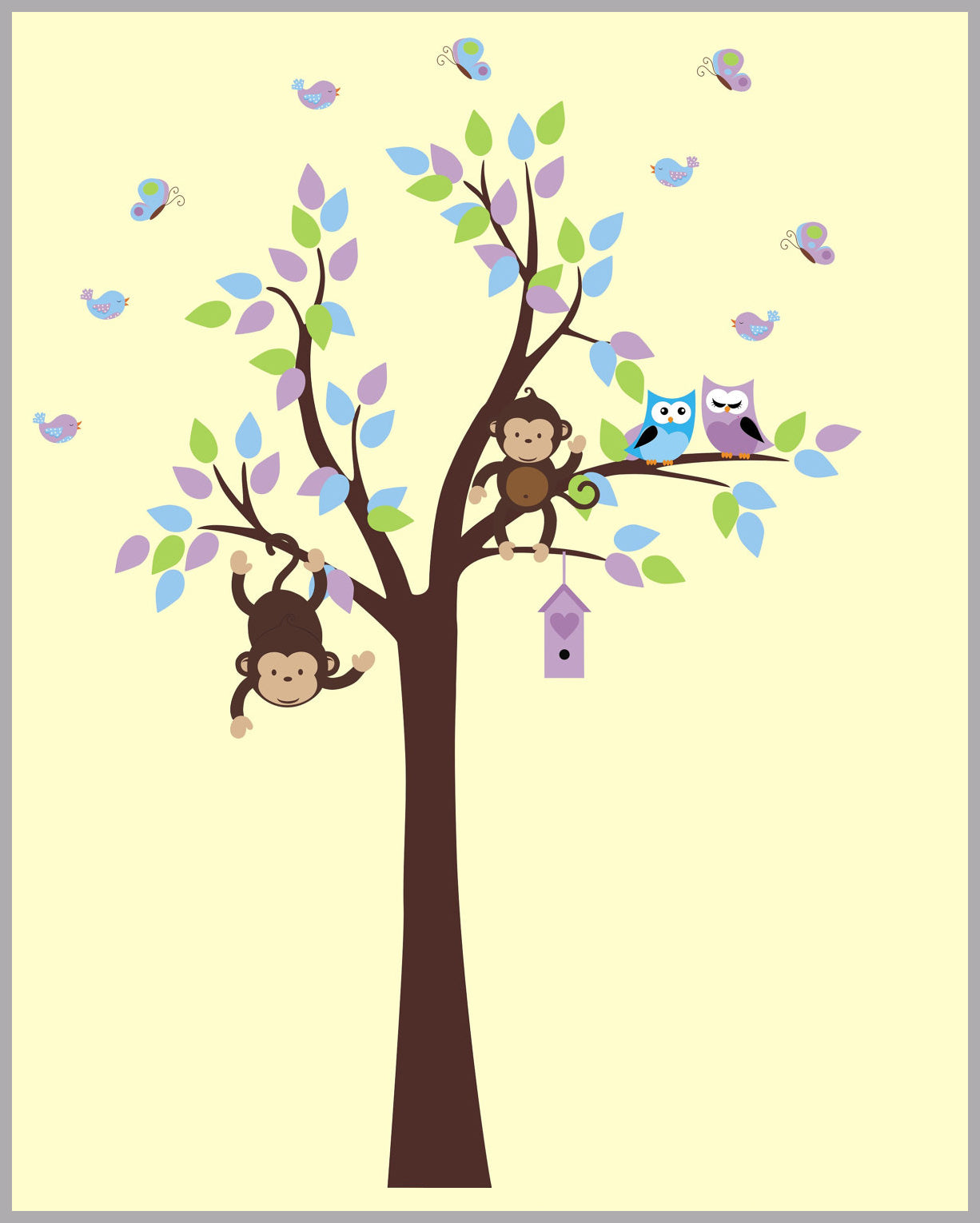 Nursery Forest Wall Decals | Woodland Wall Decals | Purple Colors ...