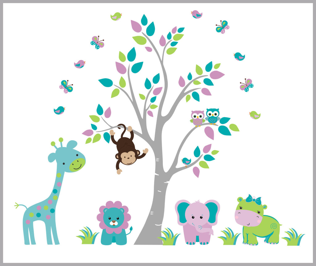 Girls Safari Animal Decals