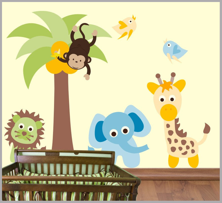 baby room wall decals | animal themed wall decals | palm tree decal