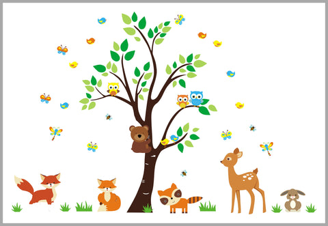 foxy woodland creature wall decals baby room wall stickers forest themed baby decor