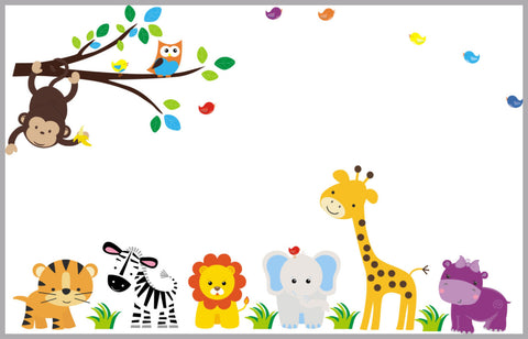 "Animal Wall Decal Nursery - Nursery Wall Decals - Mural Jungle Animals - Nursery Decor - Children's Wall Stickers - Wall Decals - 83"" x 156"""