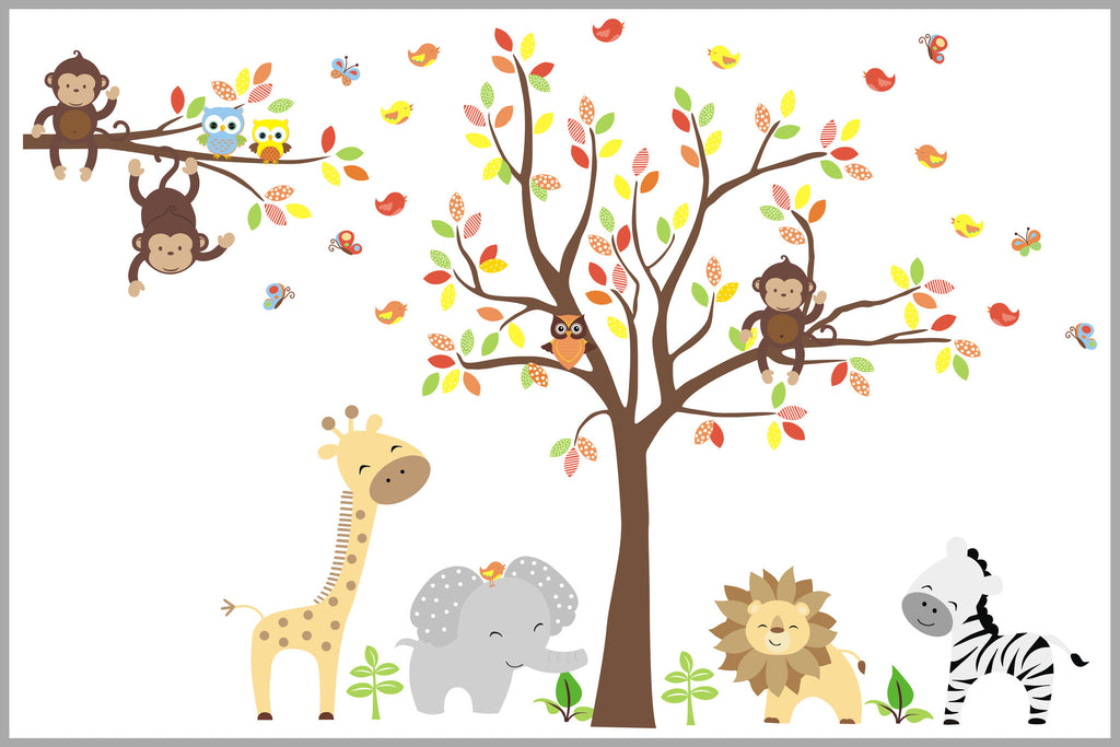 Brown Yellow Colored Animals Jungle Nursery Decals