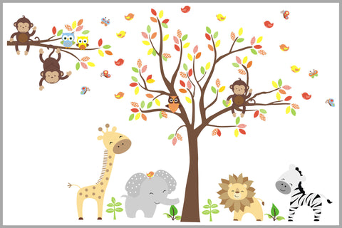 Brown And Yellow Colored Nursery Decals With Jungle Animals   Baby Room  Decorations   Owls   Part 93