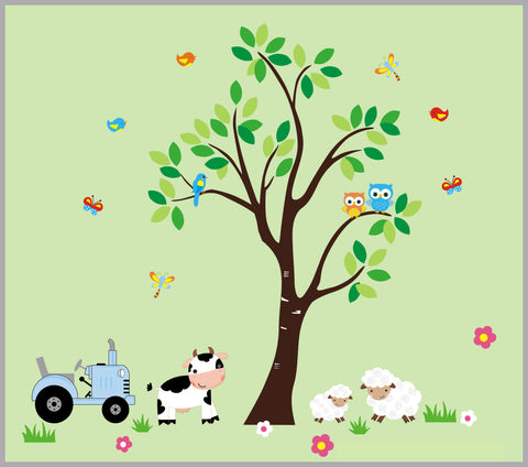 "Farm Nursery Decals - Kids Room Farm Theme - Country Theme Nursery Decals - Baby Room Farm Animals - Farm Nursery Decor - 85"" x 95"""