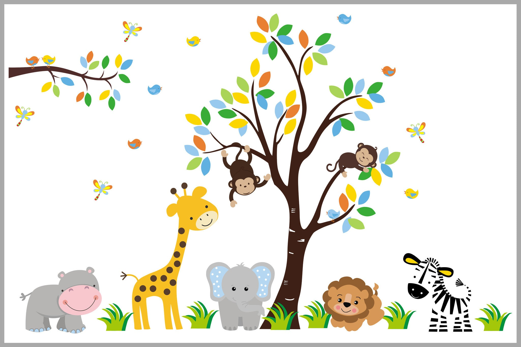 Baby Wall Decals Safari Themed Nursery Animal Decals